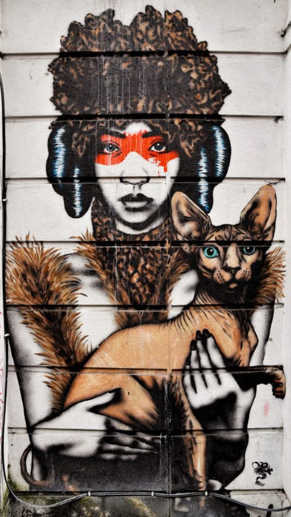 Street art London cat